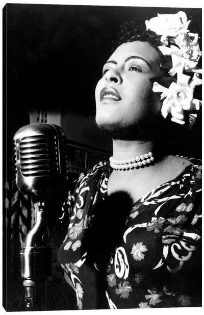 Jazz and blues Singer Billie Holiday in the 1940s  Canvas Art Print