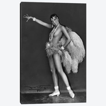 Josephine Baker at Folie Bergere, 1925-1926. Photograph by Lucien Walery . Canvas Print #BMN8584} by Rue Des Archives Canvas Wall Art