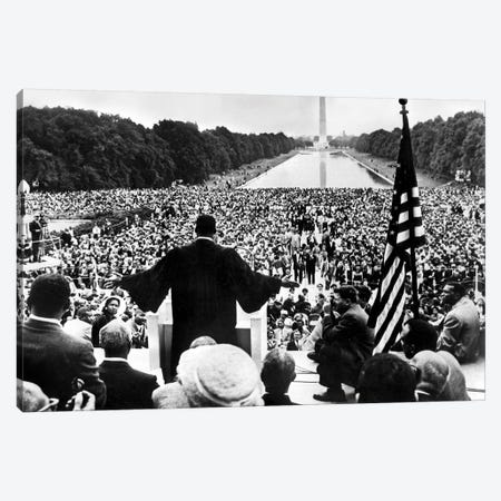 Martin Luther King Jr. Speaking At The Prayer Pilgrimage for Freedom, National Mall, Washington D.C., May 17, 1957 Canvas Print #BMN8613} by Rue Des Archives Art Print