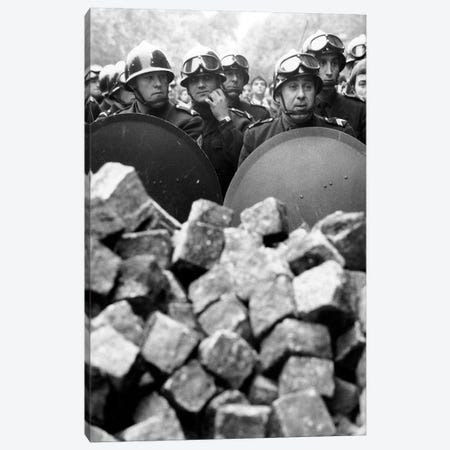 Members of the French riot police with helmet and shiled behing pile of cobblestones during demonstration in Paris on may 1968 Canvas Print #BMN8614} by Rue Des Archives Canvas Art