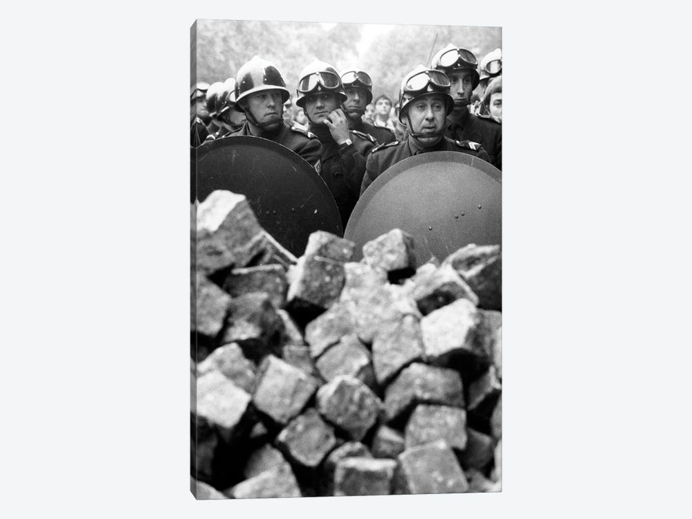 Members of the French riot police with helmet and shiled behing pile of cobblestones during demonstration in Paris on may 1968 by Rue Des Archives 1-piece Canvas Art Print
