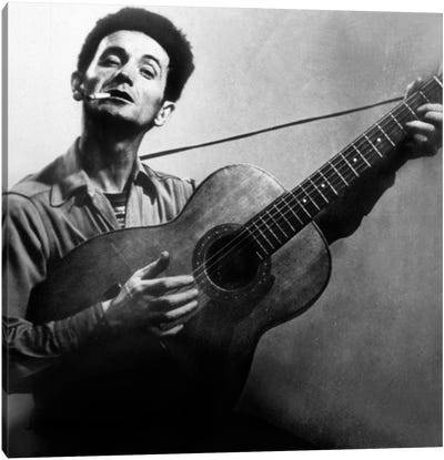 Musician Woody Guthrie  considered as the father of folk music c. 1940 Canvas Art Print