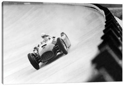 "Emilio Giuseppe ""Nino"" Farina Driving His Ferrari, Monza Eni Circuit, Qualifying Round, Italian Grand Prix, August 26, 1955 Canvas Art Print"