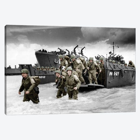 Preparation for the Normandy Landings  in Slapton Sands, Devon, England : soldiers training Canvas Print #BMN8628} by Rue Des Archives Canvas Art