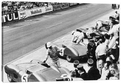 Roy Salvadori & Stirling Moss Entering Their Aston Martin DBR1's Before The Start, 24 Hours of Le Mans, France, 1959 Canvas Art Print
