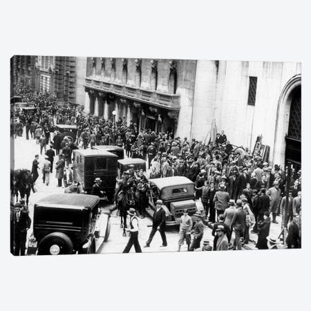 Stock market crash, New York,1929 : on October 29, 1929  : shareholders and investors gathering Canvas Print #BMN8643} by Rue Des Archives Canvas Art
