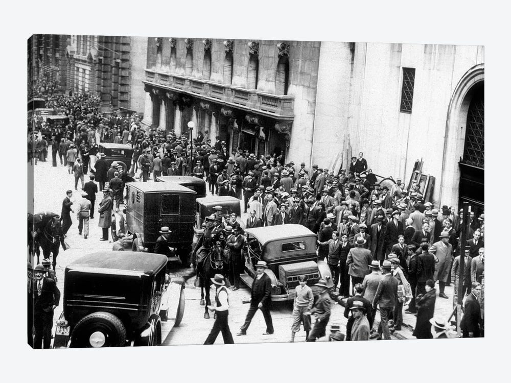 Stock market crash, New York,1929 : on October 29, 1929  : shareholders and investors gathering by Rue Des Archives 1-piece Art Print