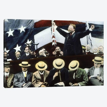 Theodore Roosevelt Campaigning For President Under the Bull Moose Party, Summer, 1912 Canvas Print #BMN8649} by Rue Des Archives Canvas Art