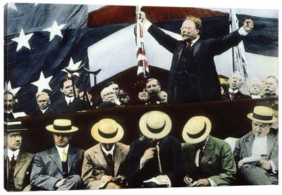Theodore Roosevelt Campaigning For President Under the Bull Moose Party, Summer, 1912 Canvas Art Print