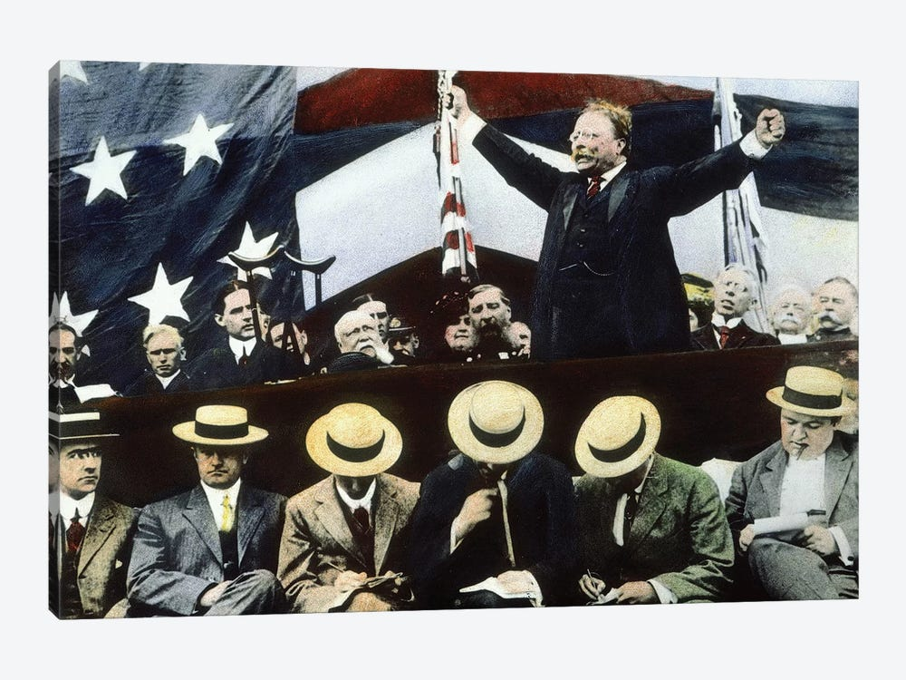 Theodore Roosevelt Campaigning For President Under the Bull Moose Party, Summer, 1912 by Rue Des Archives 1-piece Canvas Print