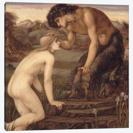 Pan and Psyche, 1870s  Canvas Print #BMN864} by Sir Edward Coley Burne-Jones Canvas Print