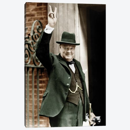 Winston Churchill Making the Victory Gesture In Front of 10 Downing Street, June 1943 Canvas Print #BMN8657} by Rue Des Archives Canvas Artwork