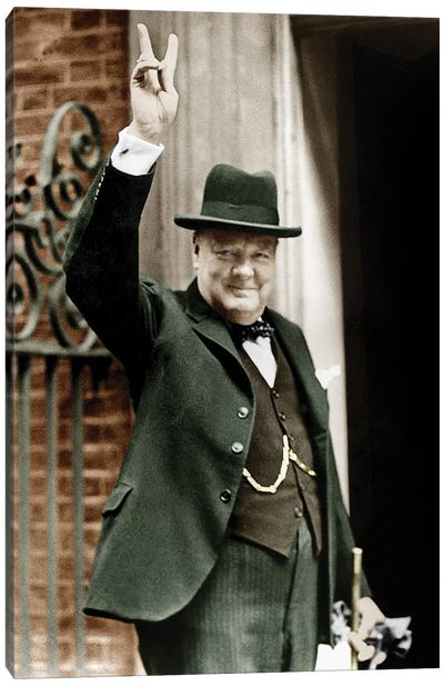 Winston Churchill Making the Victory Gesture In Front of 10 Downing Street, June 1943 Canvas Art Print