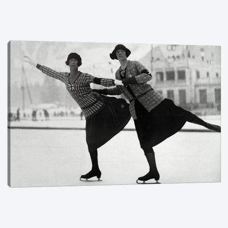 British Figure Skaters Ethel Muckelt & Kathleen Shaw, 1924 Winter Olympic Games. Chamonix, France Canvas Print #BMN8658} by Rue Des Archives Canvas Print