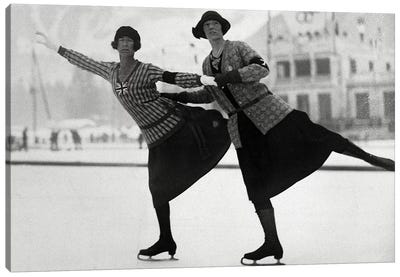British Figure Skaters Ethel Muckelt & Kathleen Shaw, 1924 Winter Olympic Games. Chamonix, France Canvas Art Print