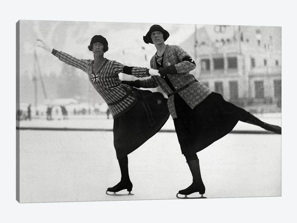 British Figure Skaters Ethel Muckelt & Kathleen Shaw, 1924 Winter Olympic Games. Chamonix, France by Rue Des Archives 1-piece Canvas Art Print
