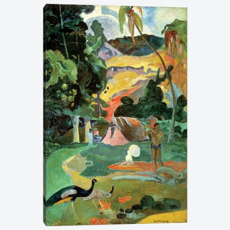 Matamoe (Landscape with Peacocks), 1892 Canvas Print #BMN865} by Paul Gauguin Art Print