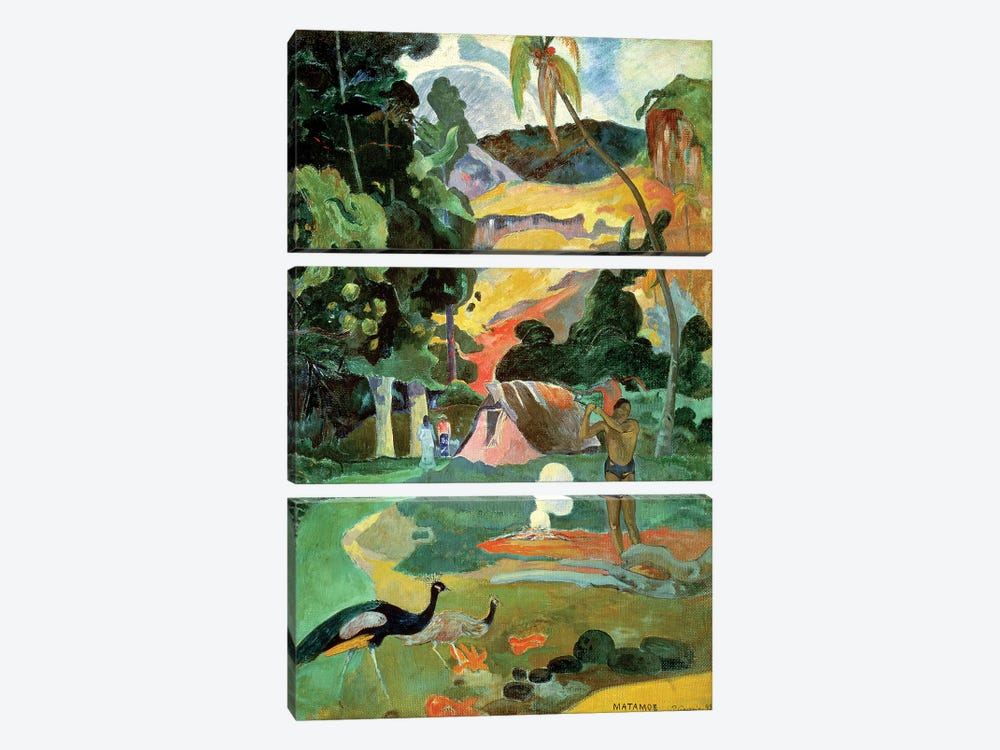 Matamoe (Landscape with Peacocks), 1892 by Paul Gauguin 3-piece Canvas Art Print
