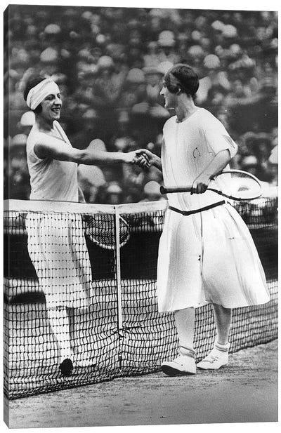 Women Finalists of Wimbledon Tennis Championship : Miss Fry and Suzanne Lenglen in 1925 Canvas Art Print