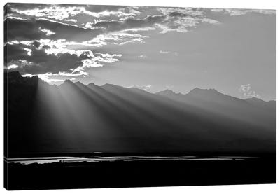 Clouds Rays In Black and White, 2018  Canvas Art Print