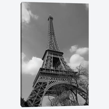 Cloudy Eiffel In Black and White, 2015  Canvas Print #BMN8674} by SVP Images Canvas Wall Art