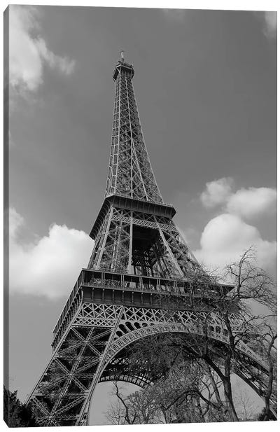 Cloudy Eiffel In Black and White, 2015  Canvas Art Print