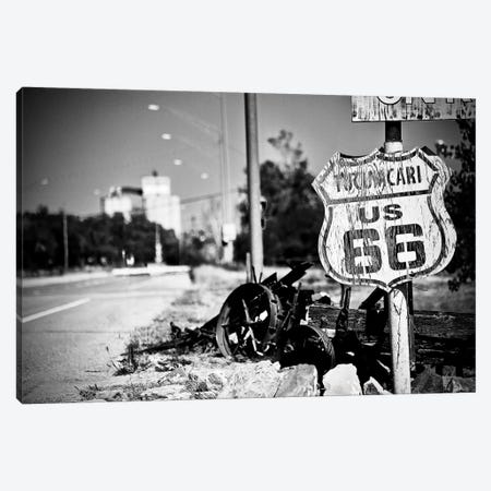 Route 66 Sign Black and White, 2017  Canvas Print #BMN8692} by SVP Images Canvas Art Print