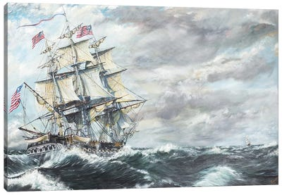 USS Constitution heads for HM Frigate Guerriere 19/08/1812, 2003,  Canvas Art Print