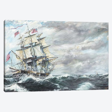 USS Constitution Heads For HM Frigate Guerriere (8/19/1812), 2003  Canvas Print #BMN8698} by Vincent Alexander Booth Canvas Print