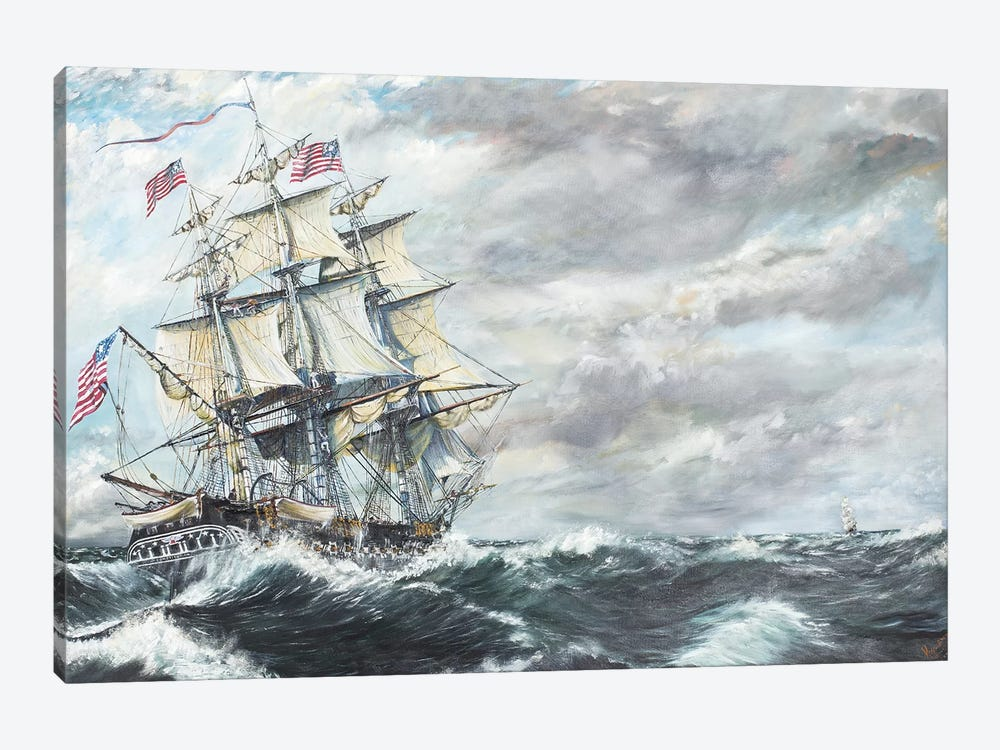 USS Constitution Heads For HM Frigate Guerriere (8/19/1812), 2003  by Vincent Alexander Booth 1-piece Canvas Print