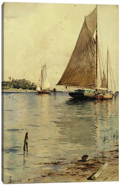 Drying the Sails, Oyster Boats, Patchogue, Long Island,  Canvas Art Print