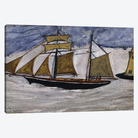 Boat and Lighthouse,  Canvas Print #BMN8713} by Alfred Wallis Canvas Art