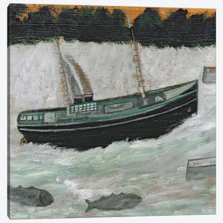 Lighthouse with Trawler and Fish  Canvas Print #BMN8714} by Alfred Wallis Canvas Art Print