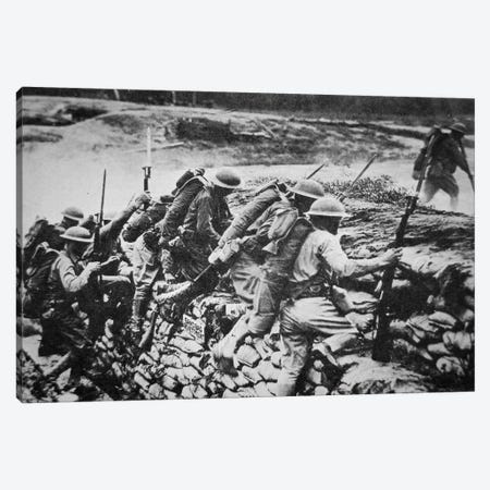 American infantry in WWI leaving their trench to advance against the Germans, 1918  Canvas Print #BMN8736} by American Photographer Canvas Art Print