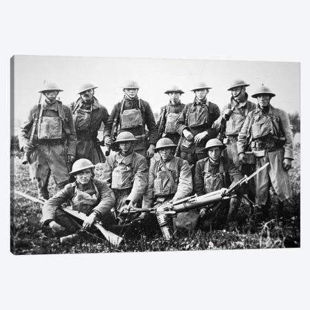 American patrol with German machine gun captured in the Saint-Mihiel Offensive on the Western Front, September 1918  Canvas Print #BMN8737} by American Photographer Canvas Print