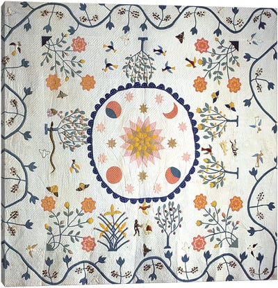 Applique quilt with Sun, Moon, Stars and the Garden of Eden, from Arkansas, c.1850-80  Canvas Art Print