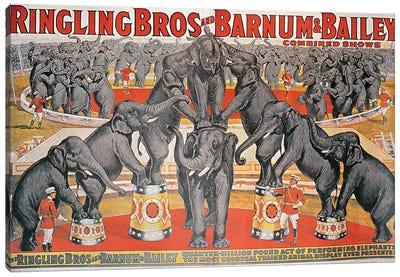 Barnum and Bailey Circus Poster  Canvas Art Print