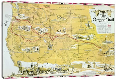Map of the Old Oregon Trail  Canvas Art Print