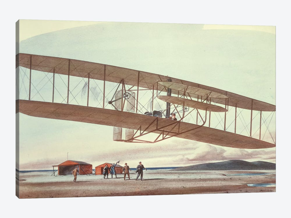 The Wright Brothers at Kitty Hawk, North Carolina, in 1903  by American School 1-piece Canvas Art