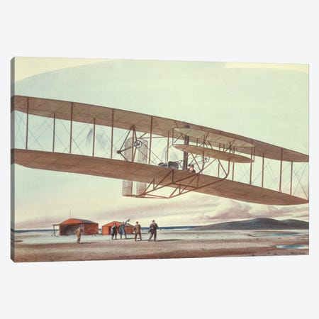 The Wright Brothers at Kitty Hawk, North Carolina, in 1903  Canvas Print #BMN8770} by American School Canvas Wall Art