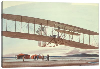 The Wright Brothers at Kitty Hawk, North Carolina, in 1903  Canvas Art Print