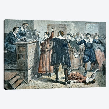 Witches of Salem - a girl bewitched at a trial in 1692  Canvas Print #BMN8772} by American School Canvas Wall Art