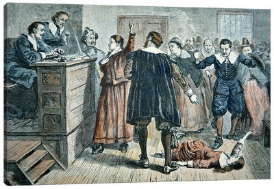 Witches of Salem - a girl bewitched at a trial in 1692  Canvas Art Print