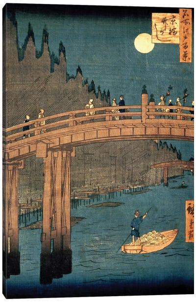 Kyoto bridge by moonlight, 1855,  Canvas Art Print