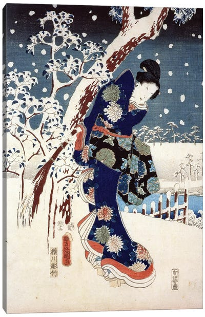 Snow Scene in the Garden of a Daimyo, part of Triptych  Canvas Art Print