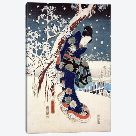 Snow Scene in the Garden of a Daimyo, part of Triptych  Canvas Print #BMN8789} by Utagawa Hiroshige Canvas Art Print