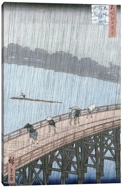 Sudden Shower over Shin-Ohashi Bridge and Atake Canvas Art Print