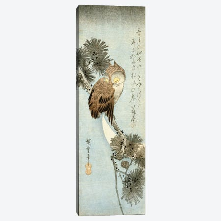 The Crescent Moon And Owl Perched On Pine Branches  Canvas Print #BMN8793} by Utagawa Hiroshige Canvas Artwork