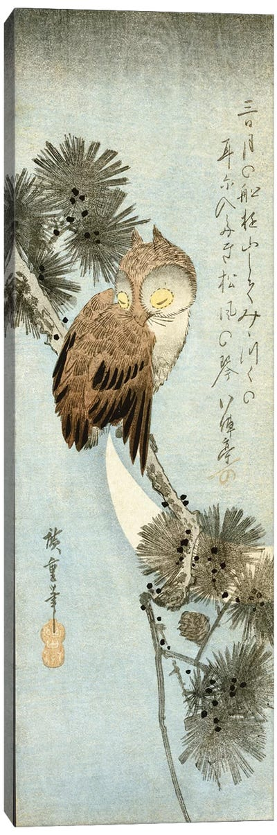 The Crescent Moon And Owl Perched On Pine Branches  by Utagawa Hiroshige Canvas Art Print