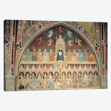 The Triumph of Catholic Doctrine, personified in St. Thomas Aquinas, from the Spanish Chapel, c.1365  Canvas Print #BMN8799} by Andrea Di Bonaiuto Canvas Art